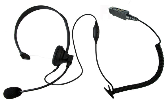 Single ear over head style headset for Icom F30 F40 F50 F60 M88 F70 F80 F3061 F4061 F3161 F4161 F70 F80 radios with multi pin accessory port