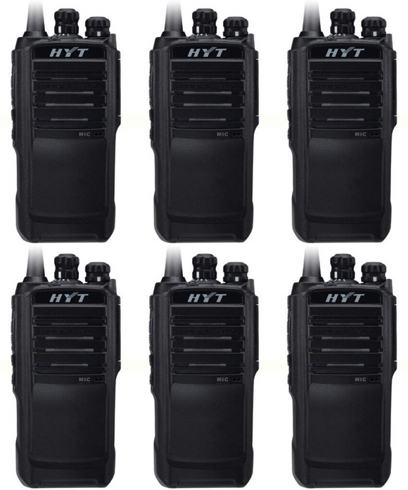Hytera TC-508-U1 400-470 MHz UHF 4 watt 16 channel analog portable radio (6 Pack)