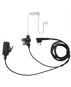 Two wire surveillance headset with push to talk for Motorola two pin CP200 CP185 PR400 P1225 GP300 and more
