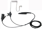 Two wire surveillance headset with push to talk for motorola HT750 HT1250 HT1250LS MTX850 MTX950