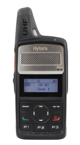 Hytera PD362i-Uc 430-470 MHz UHF 3 watt 256 channel 16 zone IP54 display dual mode digital/analog DMR portable radio