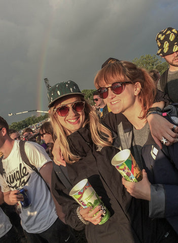 Founders Sara and Hannah at Glastonbury Festival