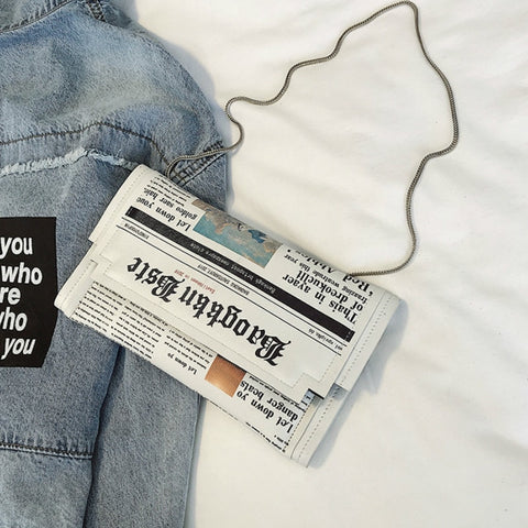 NEWSPAPER Clutch Bag w/ Chain Strap