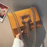 Flap Bag w/ Gold Tassel and Chain - The Impulse Market