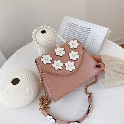 Flower Leather Pearl Top Handle w/ Chain Strap - The Impulse Market