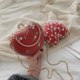 Embroidered Heart Clutch w/ Top Handle & Chain