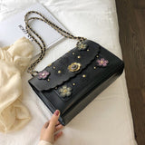 Flower Embroidered Bag w/ Chain Strap - The Impulse Market