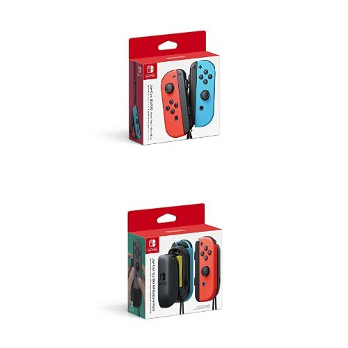 Nintendo Switch - Joy-Con (L/R)-Neon Red/Neon Blue and Switch - Joy-Con AA Battery Pack