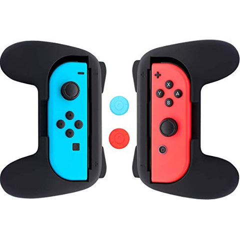 DILISS Grips for Nintendo Switch Joy-Con, Wear-resistant Handle Kit for Switch Joy Cons Controller, 2 Pack (Black)
