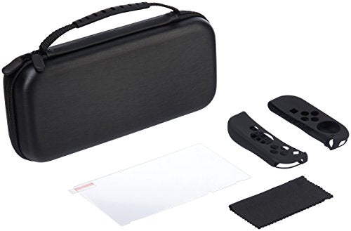 AmazonBasics Protection Kit for Nintendo Switch with Carrying Case and Tempered-glass Screen Protector (Black)