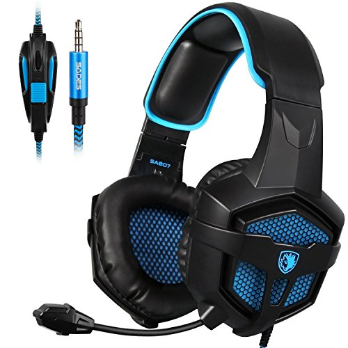 SADES New SA807S Over-ear Stereo Gaming Headset Headband Headphones with Microphone/Control-remote/Noise-Reduction for PC Computers/Mac/Laptop/PS4/New Xbox One/Cellphons/Tablets (Black Blue)