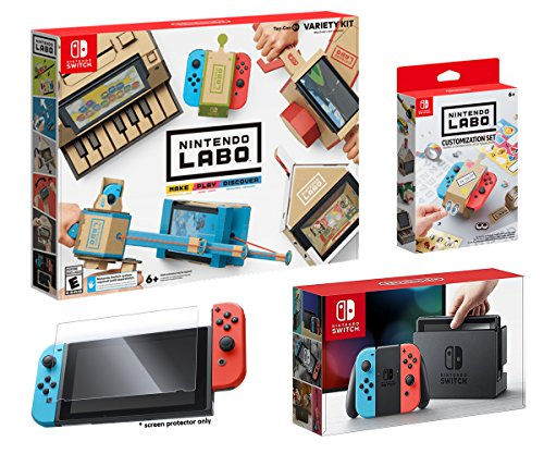 Nintendo Switch and LABO Variety Kit Starter Bundle (4items): Nintendo Labo Variety Kit, Official Nintendo LABO Customization Set, Screen Protector and Nintendo Switch 32GB Console - Neon Red/Neon Blu