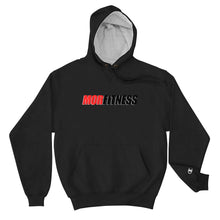 Load image into Gallery viewer, Black Champion Hoodie for men and women. 100% cotton shell. Logo on the left sleeve