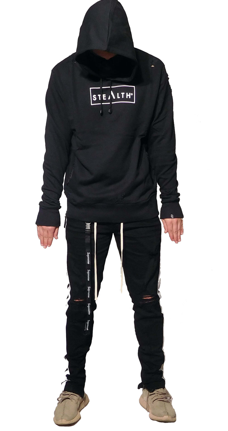Distressed Box Logo overhead Hoody (Black)