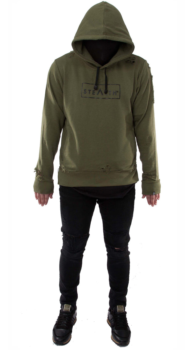 Distressed Box Logo overhead Hoody (Olive)