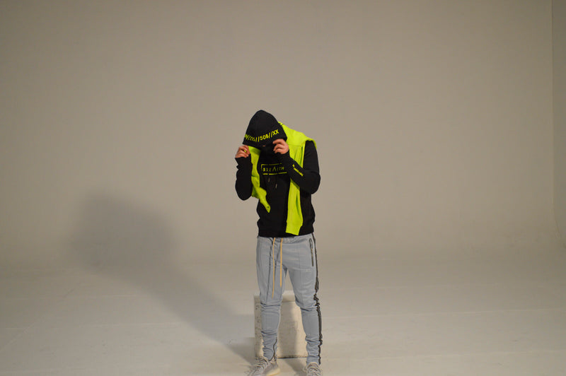 Facemask Hoody (Black/Lime)