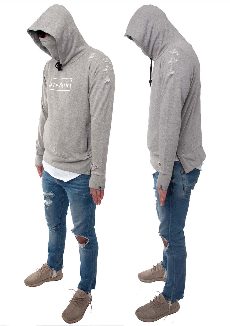 Distressed Box Logo overhead Hoody (Grey)