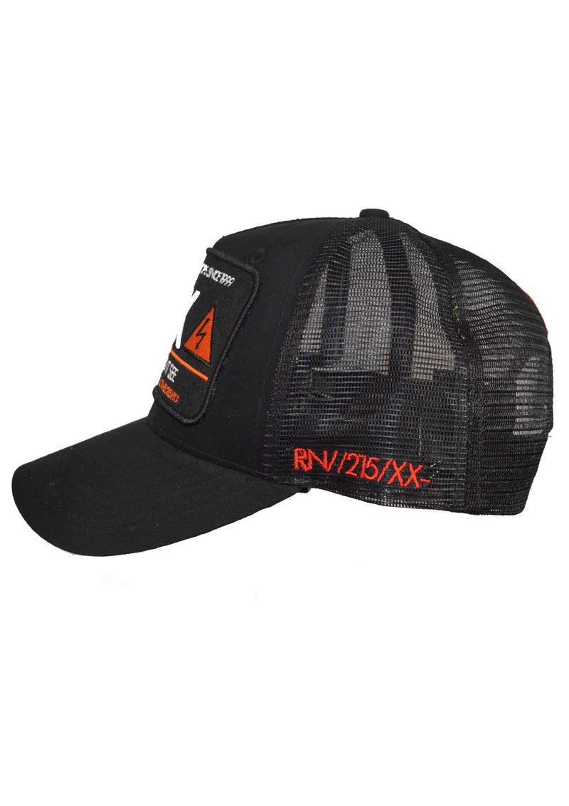 Stealth London Clothing Co One Size fits all RN:X Trucker cap (Black/Orange)