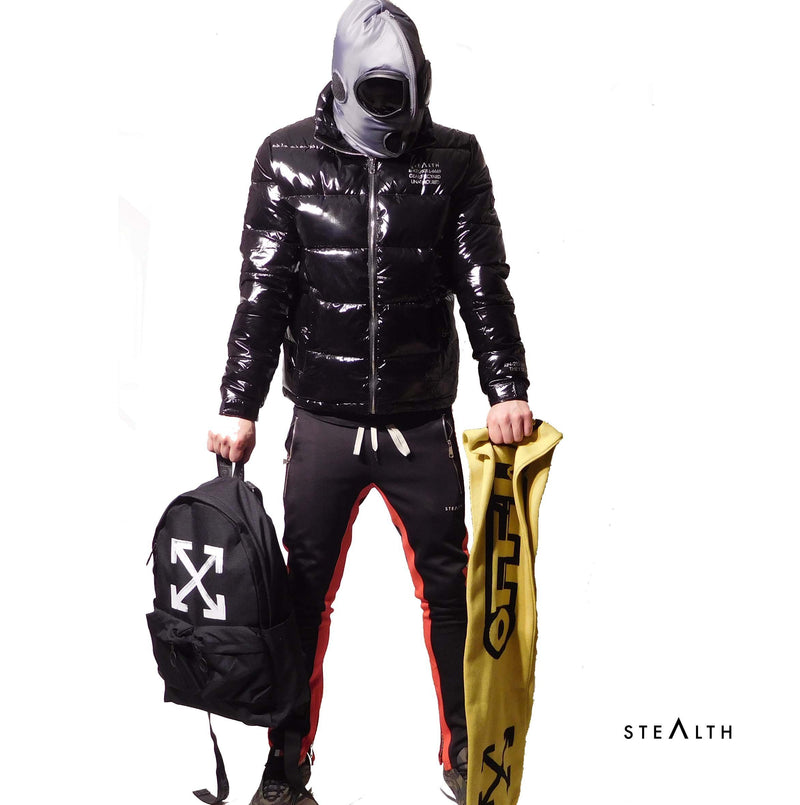 Stealth London Clothing Co Small Quantom Puffa Jacket (Black Grey)