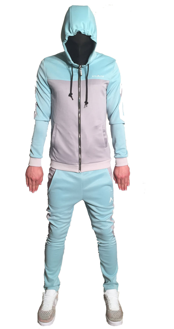 Stealth London Clothing Co Tracksuit Small (SlimFit) Protect Poly Trackset (Stealth SkyBlue/Grey )