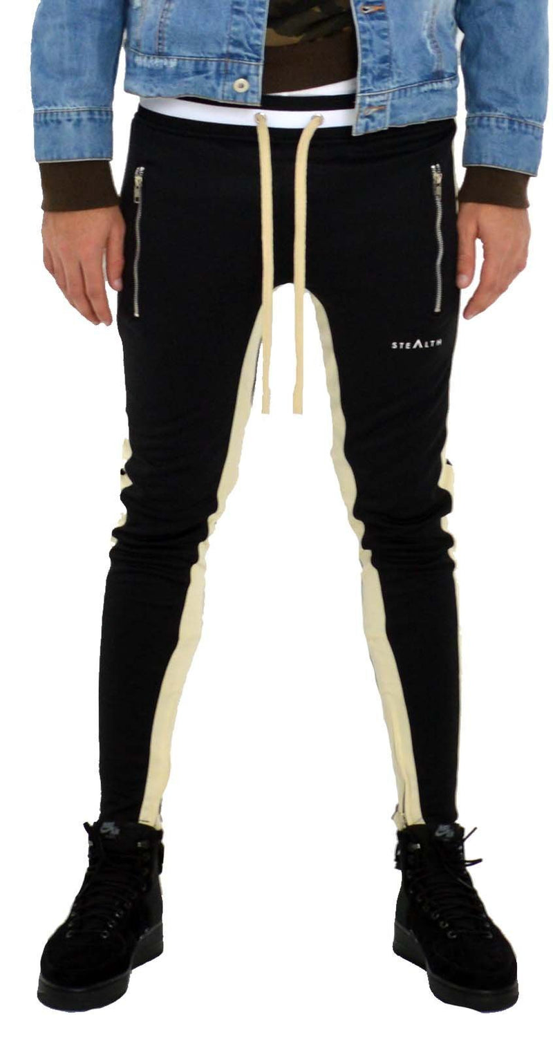 Stealth London Clothing Co Xtra Small  (Slim Fit) Vulcan Track Bottoms (Black/Cream)