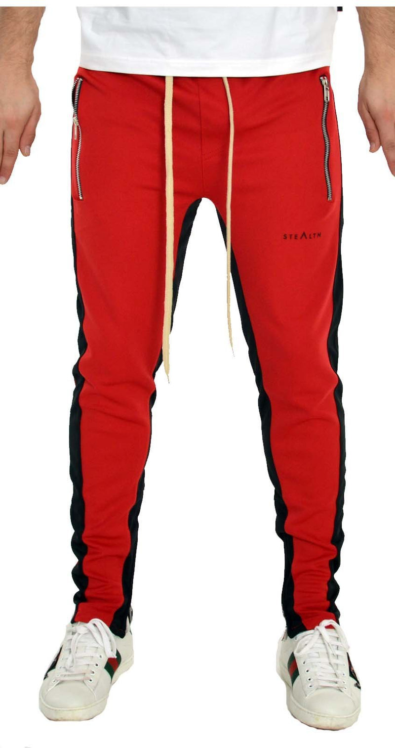 Stealth London Clothing Co Xtra Small  (Slim Fit) Vulcan Track Bottoms (Red/Black)