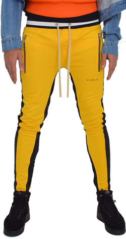Stealth London Clothing Co Xtra Small  (Slim Fit) Vulcan Track Bottoms (Yellow/Black)