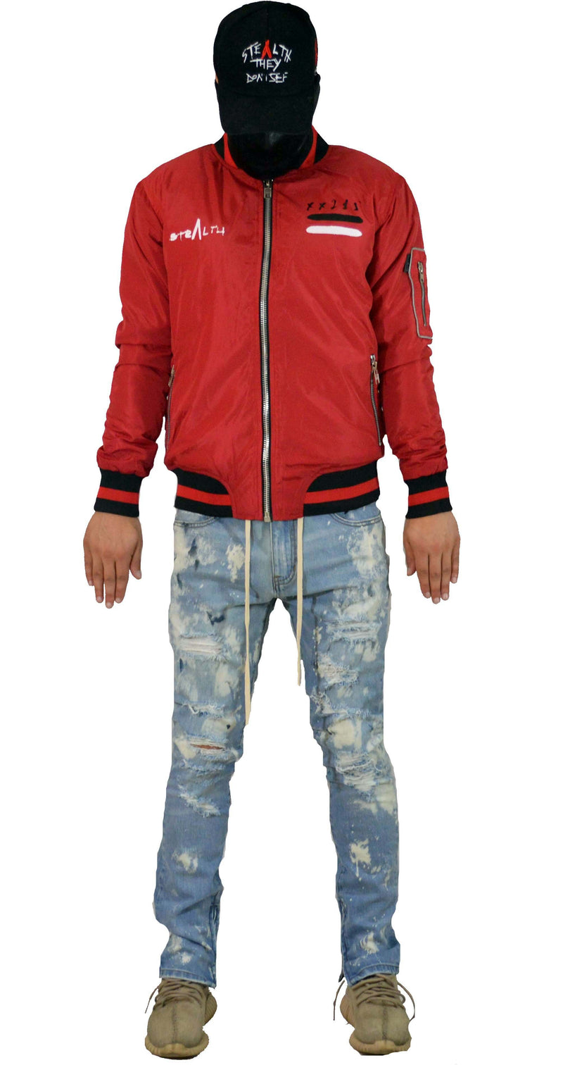 Stealth London Clothing Co Xtra Small Stealth Bomber Jacket (Red)