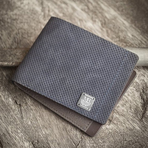Perforated Blue Suede Wallet