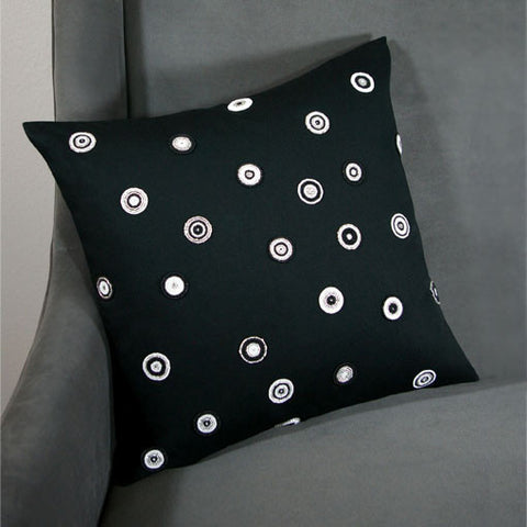 Solid Black Spotted Pillow