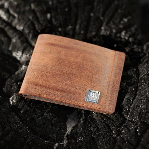 Rugged Brown Leather Wallet