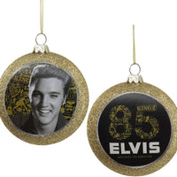 Country Marketplaces Elvis Presley 85th Birthday Glass Disc Ornament