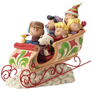 Jim Shore Peanuts Gang Charlie Brown Snoopy Lucy Linus Sleigh Ride Figure