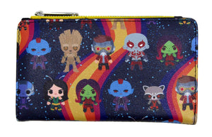 Loungefly x Marvel Guardians of the Galaxy Chibi Print Flap Wallet