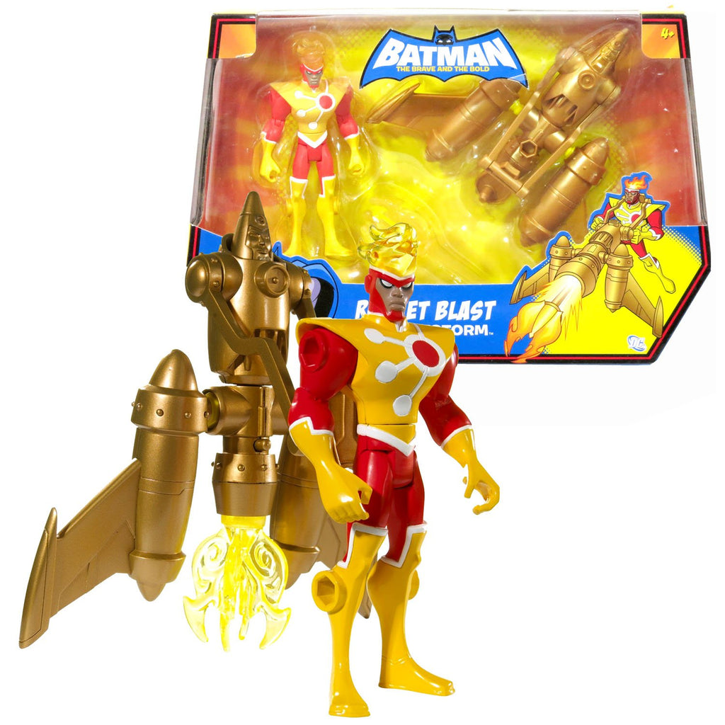 Mattel Year 2009 DC Comics Batman The Brave and The Bold Series 5 Inch Tall Action Figure with Vehicle Set - FIRESTORM with Rocket Blast and Flame Missile