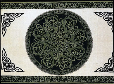 Green Druids Keep Celtic Knot Tapestry (Full or Twin Size)