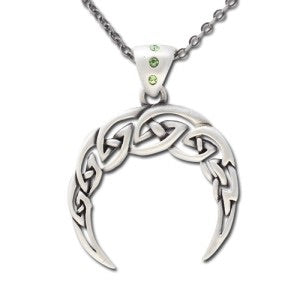 Green Celtic Moon Pendant