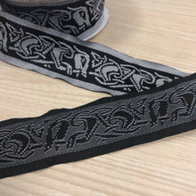 "Black White Celtic Running Dog Fabric Trim - 10 yards - 1 1/3"" jacquard trim"