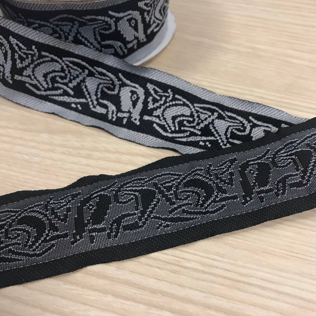 Black White Celtic Running Dog Fabric Trim - 10 yards - 1 1/3