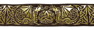 Dragontyme Celtic Dragon Triquetra Trim 1 3/8 inch reversible