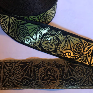 Black Gold Dragontyme Dragon Triquetra Trim 1 3/8 inch reversible Trim by the Yard