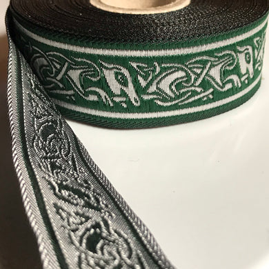 Narrow Green Silver Running Dog Celtic Trim 1 inch reversible Trim by the Yard