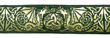 Green Gold Dragontyme Dragon Triquetra Trim 1 3/8 inch reversible Trim by the Yard