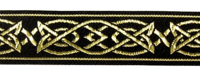 Black Gold Saxon Knot Trim - Celtic Trim by the Yard
