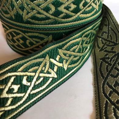 Green Gold Saxon Knot Trim - Celtic Trim by the Yard