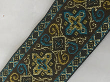 "Renaissance Gold Cross Trim - 10 yards 1 1/2"" Jacquard Sewing Vestment Trim"