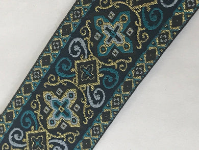 Vestment Cross Trim - Turquoise Renaissance Trim by the Yard