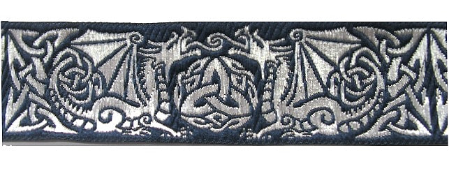 Blue Silver Dragontyme Dragon Triquetra Trim 1 3/8 inch reversible Trim by the Yard