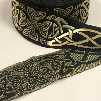Black Gold Spirit of Old Celtic Trim 1 3/8 inch Trim by the Yard