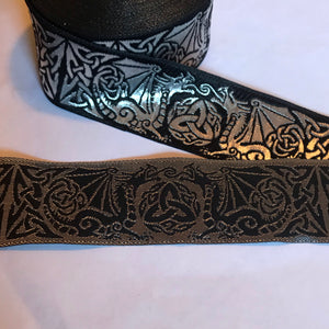 Black Silver Dragontyme Dragon Triquetra Trim 1 3/8 inch reversible Trim by the Yard